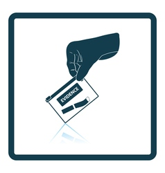 Hand holding evidence pocket icon vector