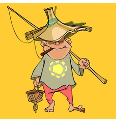 Funny cartoon male fisherman in a homemade hat vector