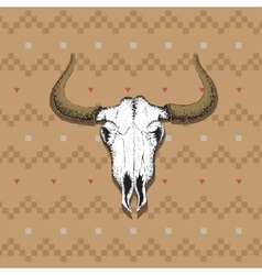Skull of bull on old indian cloth vector