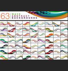 Mega collection of 63 wave abstract backgrounds vector