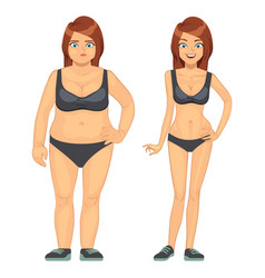 Unhappy fat and happy slim woman before and after vector