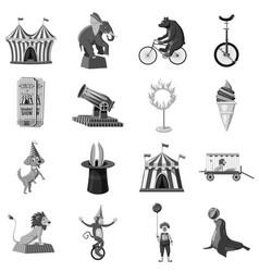 circus symbols icons set monochrome vector image