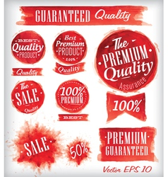 Watercolor quality badges red vector