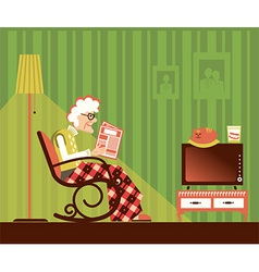 Old woman sitting and reading newspaper vector image