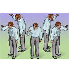 Isometric standing man indicating pose vector