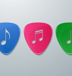 Music notes cut in guitar picks vector
