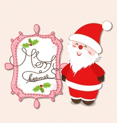 Merry christmas label with santa claus vector