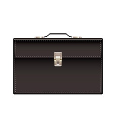 Retro black leather briefcase vector