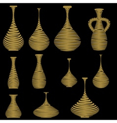monochrome icon set with amphorae and vases vector image