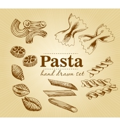 Hand drawn collection of different types of pasta vector