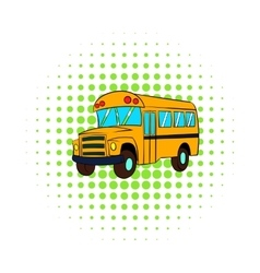 Yellow school bus icon comics style vector