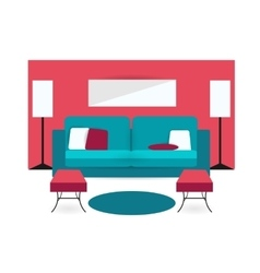 Color furniture living room flat icon vector