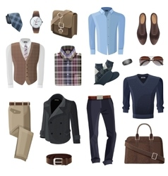 Fashion business man accessories set vector