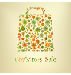 Bag for shopping with snowflakes eps 8 vector