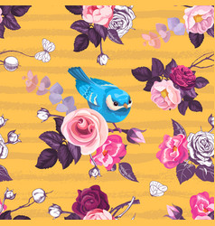 beautiful seamless pattern with pink rose flowers vector image