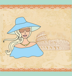 Beautiful tourist in rome vector