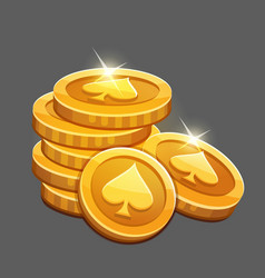 Bunch of gold coins icon vector