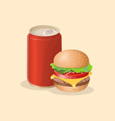 burger and soda in a tin can - cute cartoon vector image vector image