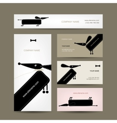 Business cards design with funny dogs vector image vector image