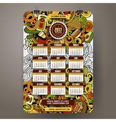 Cartoon doodles mexican food 2017 year calendar vector