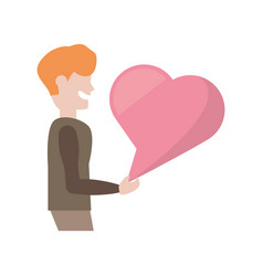 Cartoon man with pink bubble speech heart vector