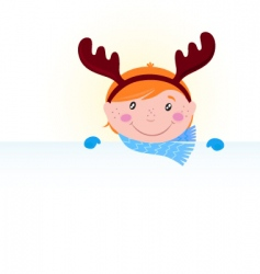 Christmas kid reindeer costume vector image