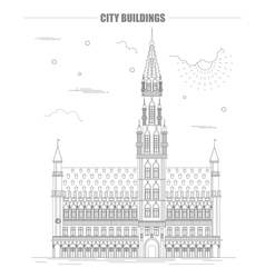 City buildings graphic template Belgium town hall vector image vector image