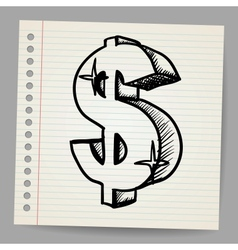 Dollar sign Sketch vector image vector image