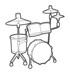 Drum icon outline isometric style vector