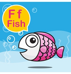 F fish color cartoon and alphabet for children to vector