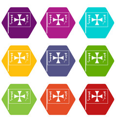 flag of columbus icon set color hexahedron vector image vector image