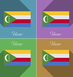 Flags Comoros Set of colors flat design and long vector image vector image