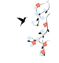 Floral humming bird vector