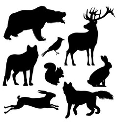 forest animals silhouettes set vector image vector image