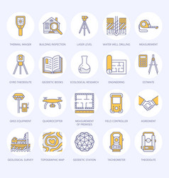 Geodetic survey engineering flat line icons vector