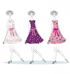 girls in the fashion dresses vector image vector image