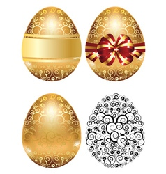 Golden egg with red bow vector