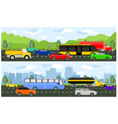 Highway with traffic traveling vector