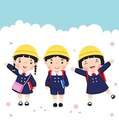 Japanese student in school uniform going to school vector image