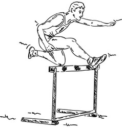 Male in a hurdle race vector