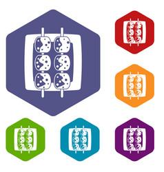 Meat shashlik icons set hexagon vector
