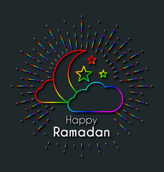 Rainbow greeting card for celebration of holy vector