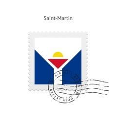Saint-martin flag postage stamp vector