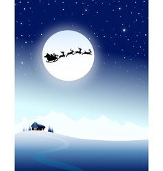 Santa sleigh on mountain in christmas night- vector