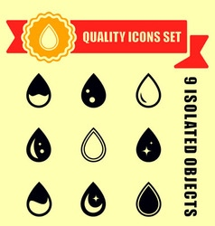 set quality drop icons vector image