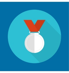 Silvermedal with red ribbon vector image vector image