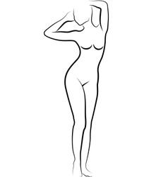 Sketch of nude woman vector