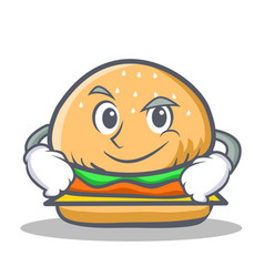 smirking burger character fast food vector image vector image