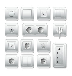 Socket electirc outlet light switch and cable vector