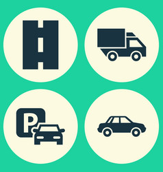 transportation icons set collection of automobile vector image vector image